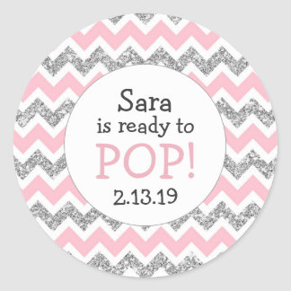 Ready to Pop Baby Shower Favor pink silver glitter Classic Round Sticker