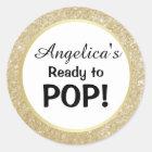 Ready to Pop Baby Shower White Gold Glitter Classic Round Sticker