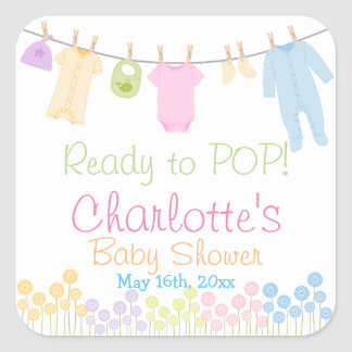 Ready To POP! Little Clothes Baby Shower Party Square Sticker