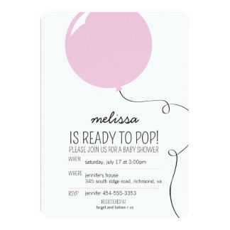 """Ready to Pop Pink Balloon Girl Baby Shower Invite 5"""" X 7"""" Invitation Card"""