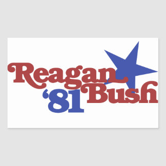 Reagan Bush 81 Rectangle Stickers