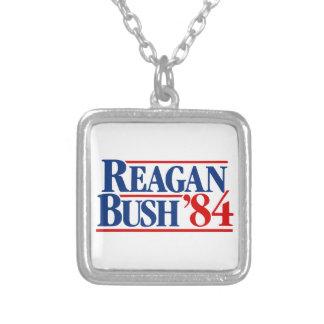 Reagan Bush '84 Campaign Square Pendant Necklace
