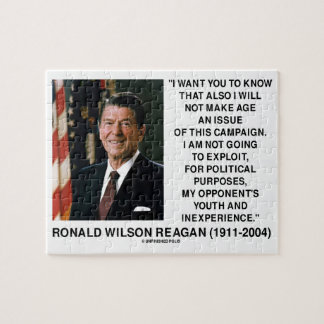 Reagan Not Make Age An Issue Campaign Youth Quote Jigsaw Puzzles