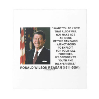 Reagan Not Make Age An Issue Campaign Youth Quote Note Pad