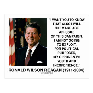 Reagan Not Make Age An Issue Campaign Youth Quote Postcard