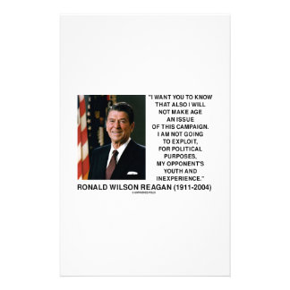 Reagan Not Make Age An Issue Campaign Youth Quote Stationery Paper