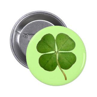 Real 4 Leaf Clover Shamrock 6 Cm Round Badge