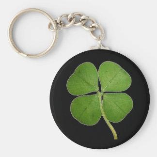 Real 4 Leaf Clover Shamrock Black Basic Round Button Key Ring
