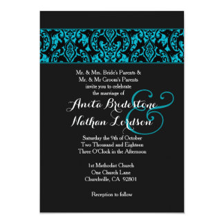 Real and Black Damask Wedding A05 Card