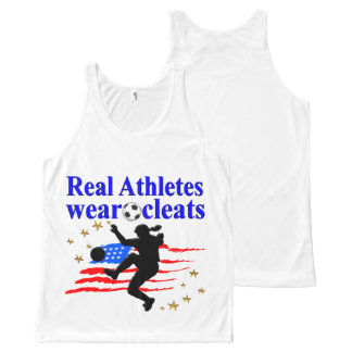REAL ATHLETES WEAR CLEATS SOCCER DESIGN All-Over PRINT TANK TOP