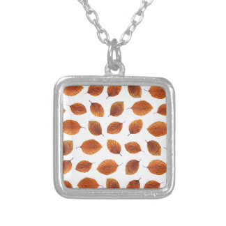 Real Autumn Leaves Pattern Silver Plated Necklace