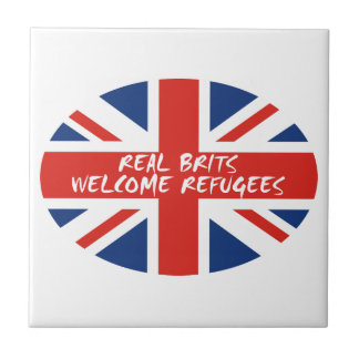 Real Brits Welcome Refugees Small Square Tile