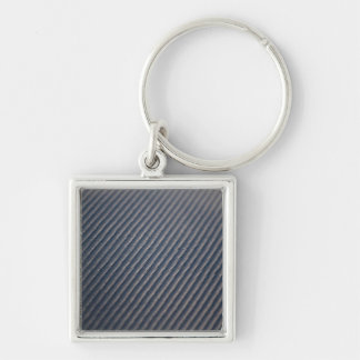 Real Carbon Fiber Photo Texture Silver-Colored Square Key Ring