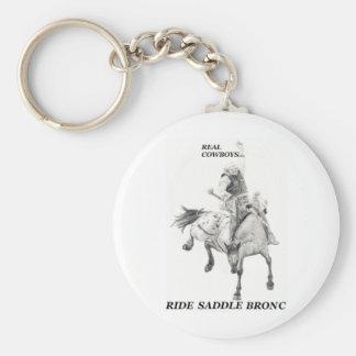 Real Cowboys Ride Saddle Bronc Keychains