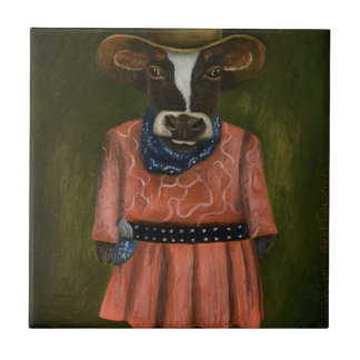 Real Cowgirl Small Square Tile