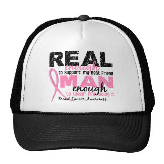 Real Enough Man Enough Best Friend 2 Breast Cancer Mesh Hat