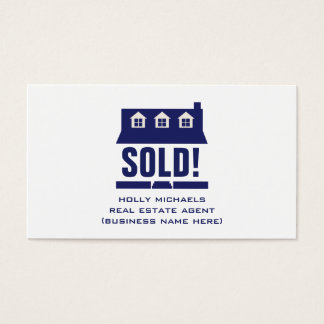 Real Estate Agent - Blue Cape Style House Business Card
