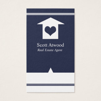 Real Estate Agent Business Cards Navy White