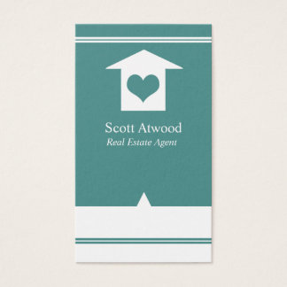Real Estate Agent Business Cards Teal White