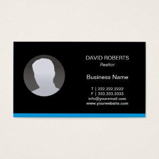 Real Estate Agent Custom Photo Blue Border Plain Business Card