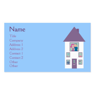 Real Estate Agent Cute Cartoon House & Couple Pack Of Standard Business Cards