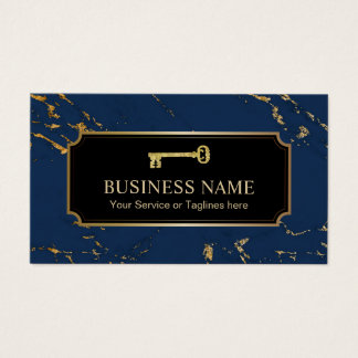 Real Estate Agent Gold Key Trendy Navy Gold Marble Business Card
