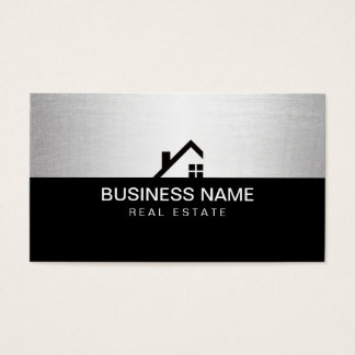 Real Estate Agent Modern Black & Silver Business Card