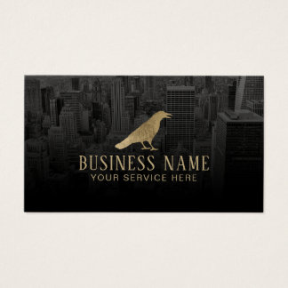 Real Estate Gold Crow & City Professional Broker Business Card