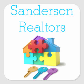 Real Estate, House and Keys, Realtor, estate agent Square Sticker