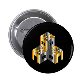 real estate market with puzzle roof 6 cm round badge