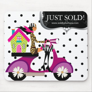 Real Estate Realtor Scooter Girl Dots Just Sold Mouse Pad
