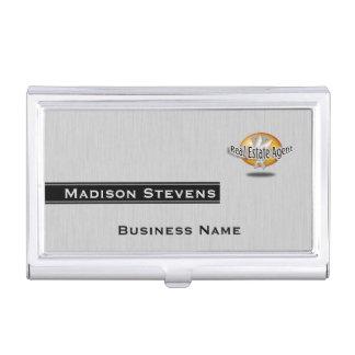 Real Estate Silver Key Logo Business Card Holder