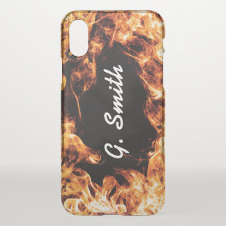 Real Fire. Add Name or Monogram. iPhone X Case