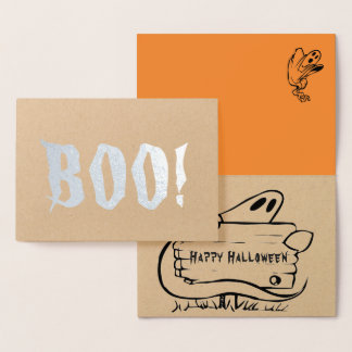 Real Foil BOO! Happy Halloween Ghost Greeting Card