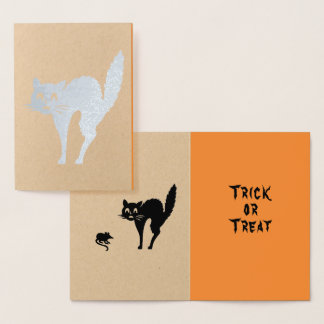 Real Foil Halloween Black Scaredy Kitty Cat Card