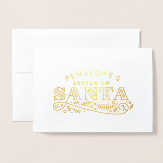 Real Foil Letter to Santa Typographic Foil Card