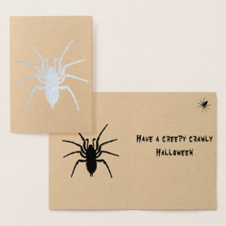Real Foil Scary Creepy Black Spider Halloween Card