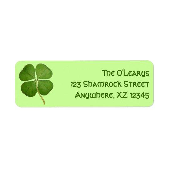 Real Four Leaf Clover Return Address Label