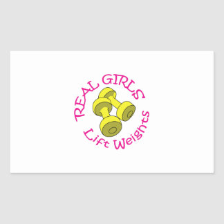 REAL GIRLS LIFT WEIGHTS RECTANGULAR STICKER