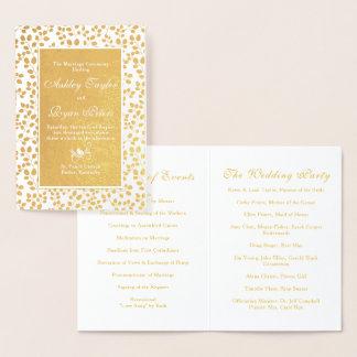 Real Gold Foil Leafy Floral Wedding Program Foil Card
