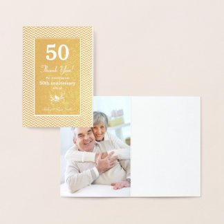 Real Gold Foil Pattern 50th Anniversary Thank You Foil Card
