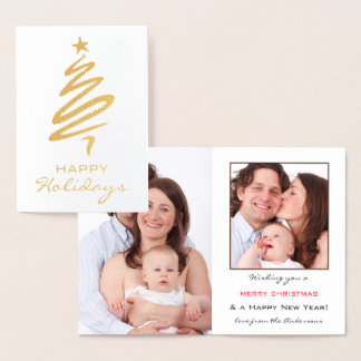 Real Gold Foil Personalised Photo Holiday Card