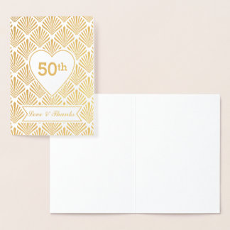 Real Gold Great Gatsby Art Deco 50th Anniversary Foil Card