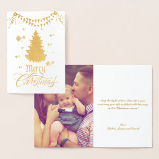 Real Gold Merry Christmas Wishes Custom Photo Foil Card
