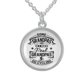 Real Grandpas Go cycling Sterling Silver Necklace
