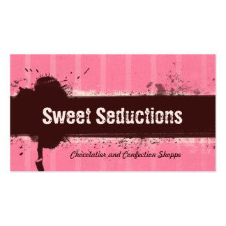 REAL Grunge Cocoa Strawberry Bakery Business Card