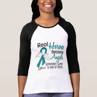 Real Heroes Become Angels Ovarian Cancer T-Shirt