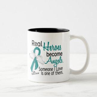 Real Heroes Become Angels Ovarian Cancer Two-Tone Coffee Mug
