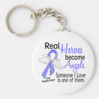 Real Heroes Become Angels Prostate Cancer Basic Round Button Key Ring