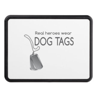 Real heroes wear dog tags trailer hitch cover